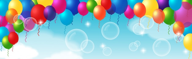 Colorful decorative element with balloons Free Vector