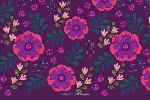 Colorful decorative embroidery floral background Free Vector