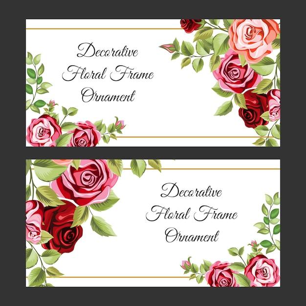 花と葉の飾りとカラフルな装飾的なフレーム Premiumベクター