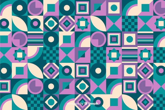 Colorful decorative geometric mosaic background Free Vector