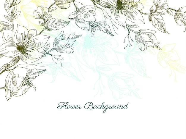 Colorful decorative hand drawn flower design background Free Vector