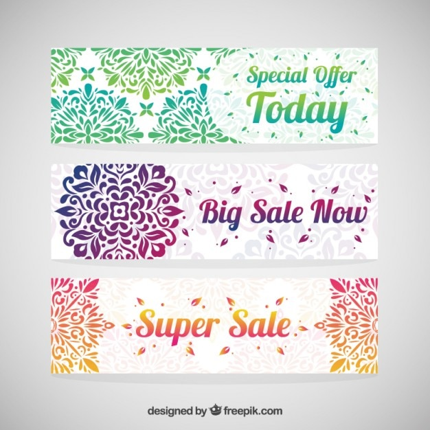 Colorful decorative sale banners Free Vector