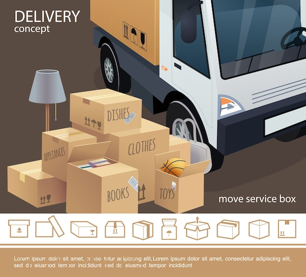 Colorful delivery service concept Free Vector