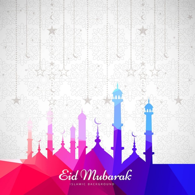 Colorful design for eid mubarak Free Vector