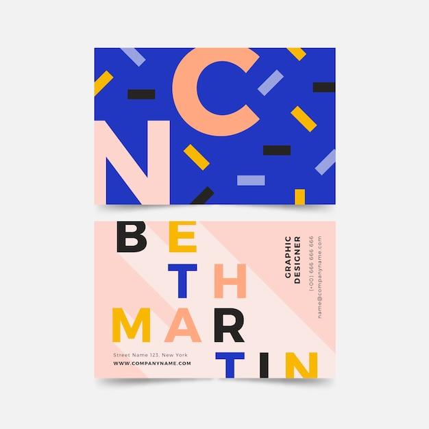Красочный дизайнерский шаблон визитной карточки Бесплатные векторы