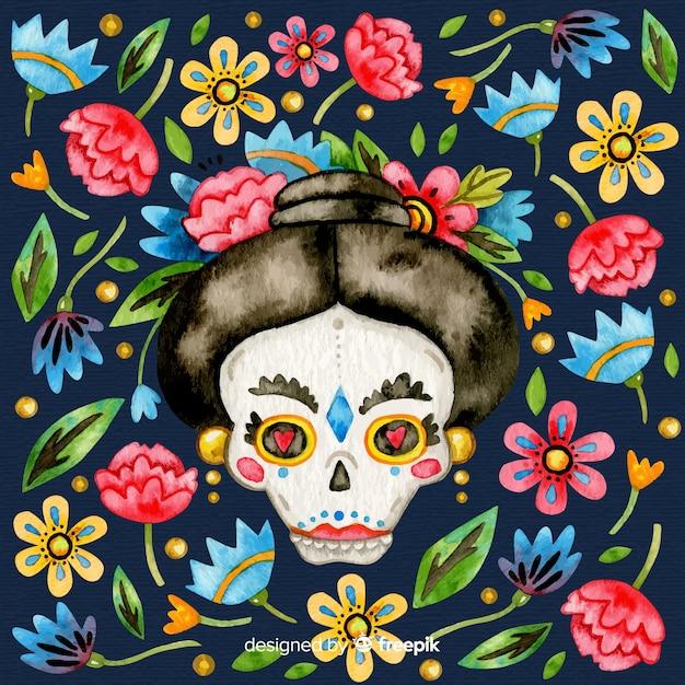 Colorful día de muertos background in watercolor Free Vector
