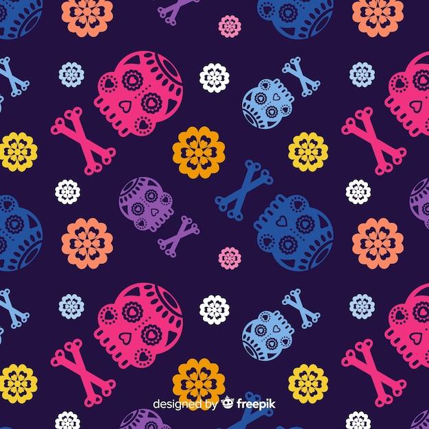 Colorful dia de muertos background Free Vector