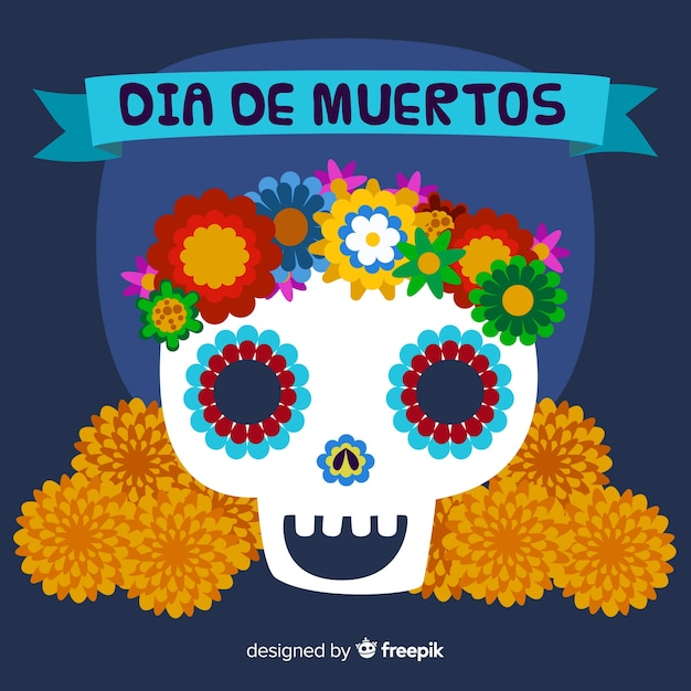 Colorful día de muertos background Free Vector
