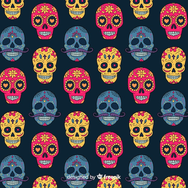 Colorful día de muertos pattern collection with flat design Free Vector