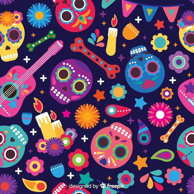 Colorful día de muertos pattern collection with flat design Free Vector