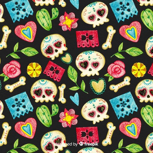 Colorful día de muertos pattern with skulls Free Vector