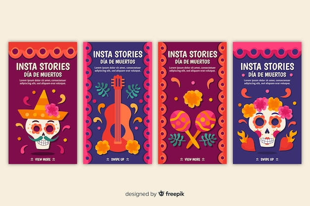 Colorful día de muertos stories for social media Free Vector