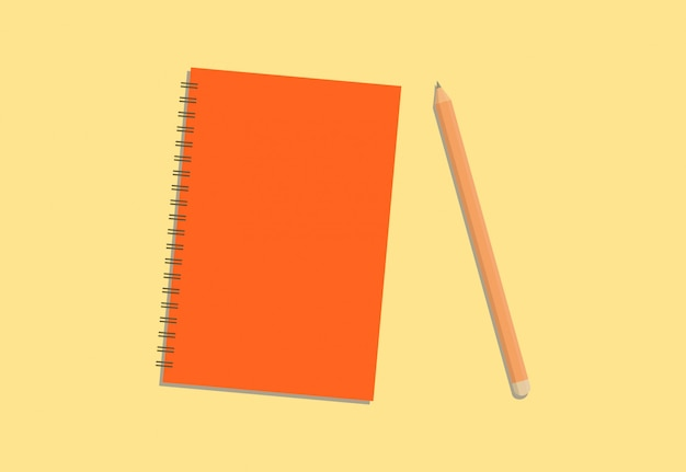 Colorful diary and pencil with cream background Premium Vector