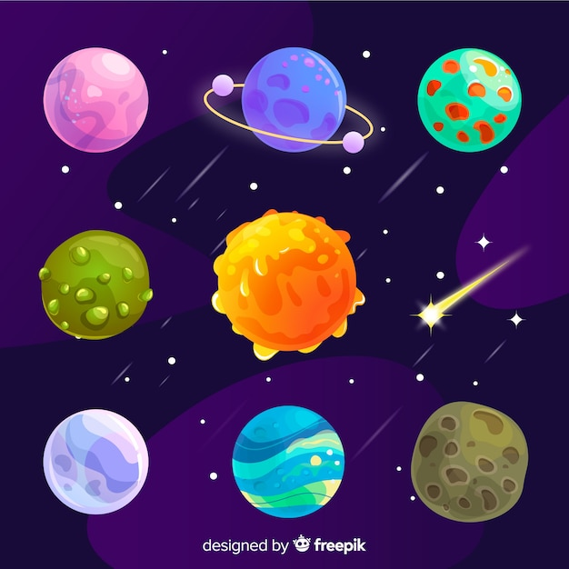 Colorful different flat planets set Free Vector