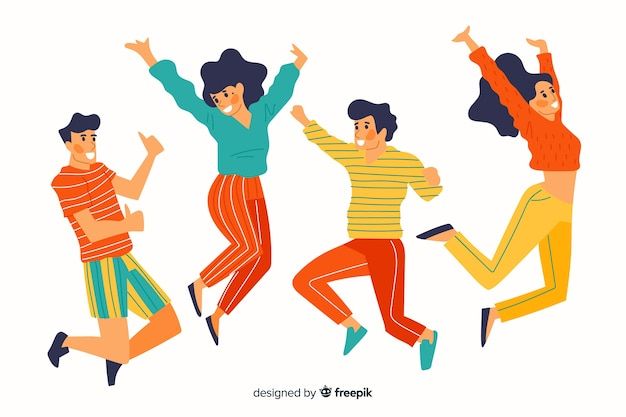 Colorful different people jumping together Free Vector