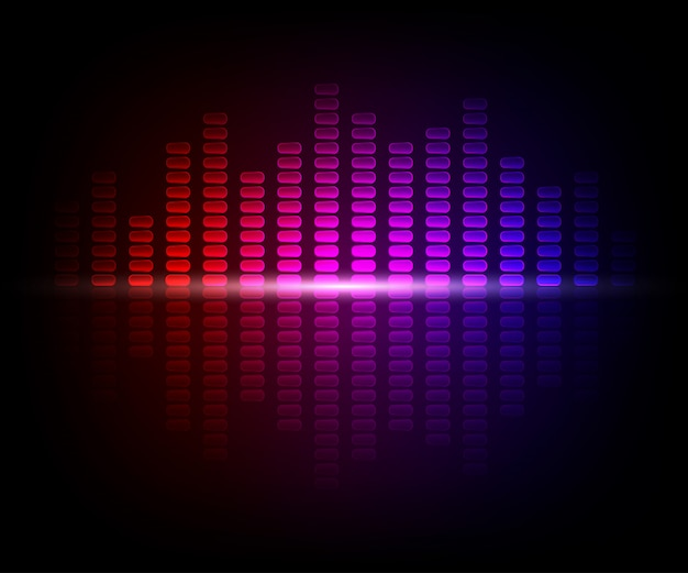 Colorful digital shining equalizer. vector illustration with light effects on dark background Premium Vector