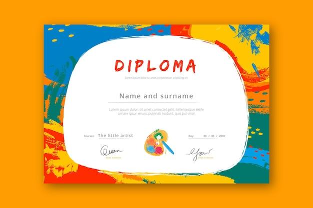 子供のためのカラフルな卒業証書のテンプレート Premiumベクター