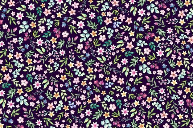 Красочный ditsy цветочный фон печати. цветочный фон с мелкими цветами. Premium векторы