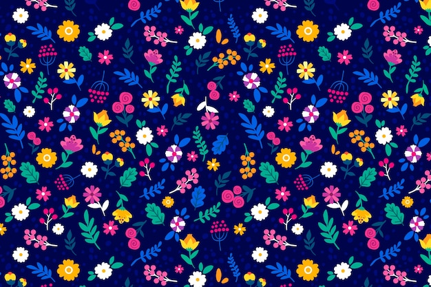 Colorful ditsy floral print background Free Vector
