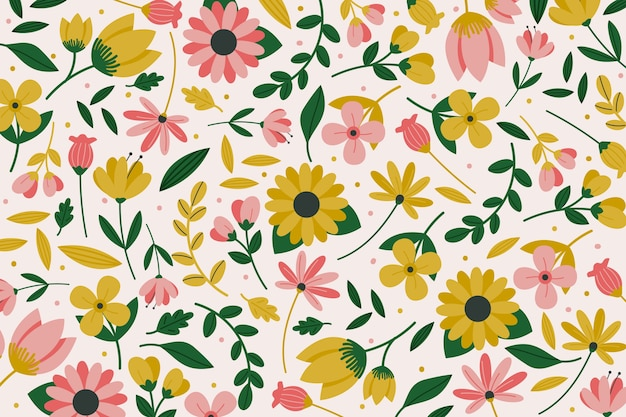 Colorful ditsy floral print theme for wallpaper Free Vector