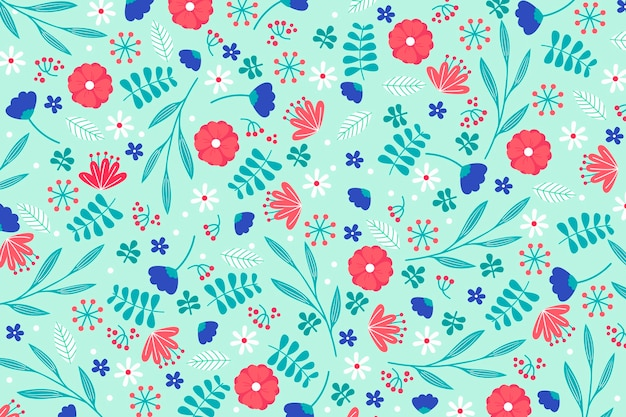 Colorful ditsy floral print wallpaper concept Free Vector