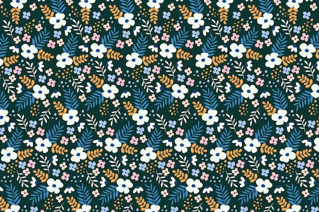 カラフルな頭が変な花柄の壁紙 無料ベクター
