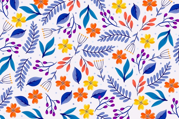 Colorful ditsy floral screensaver Free Vector