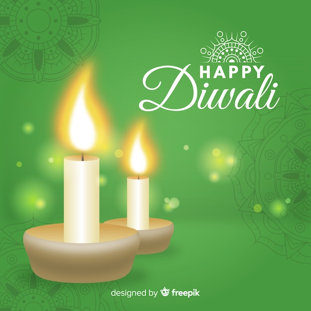 Colorful diwali background with realistic design Free Vector