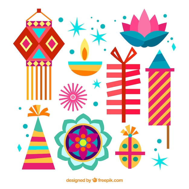 Colorful diwali elements collection