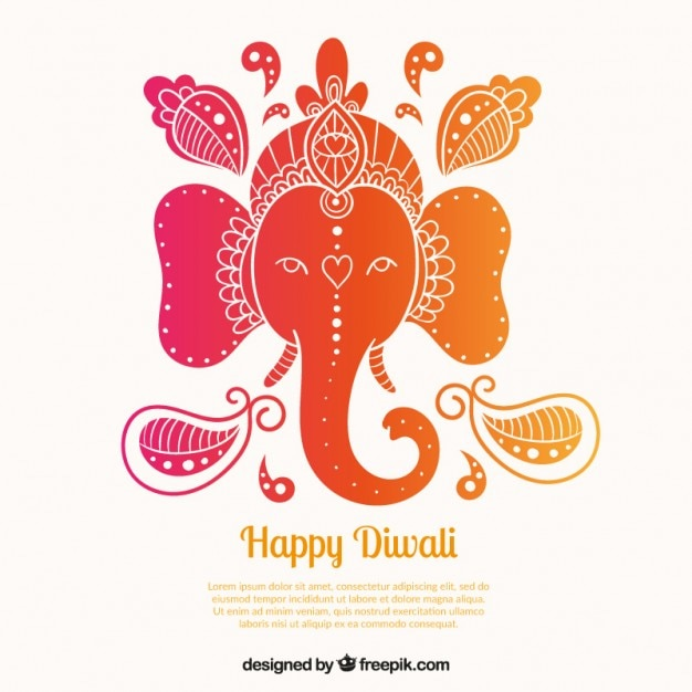 Colorful diwali elephant background Premium Vector