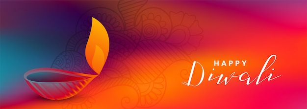 Colorful diwali festival beautiful banner with attractive diya Free Vector