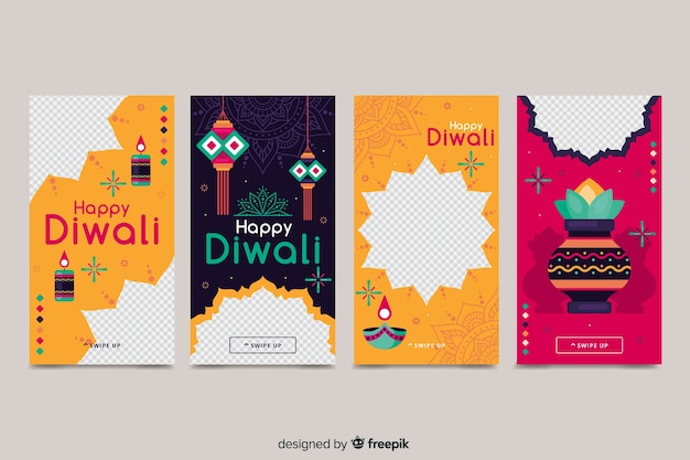 Colorful diwali instagram stories Free Vector