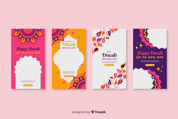 Colorful diwali instagram stories Free Vector