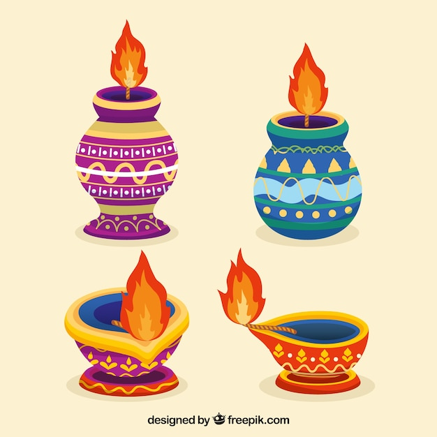 Colorful diwali lamps collection
