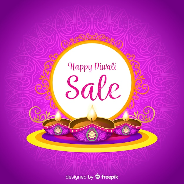 Colorful diwali sale composition with flat design Free Vector