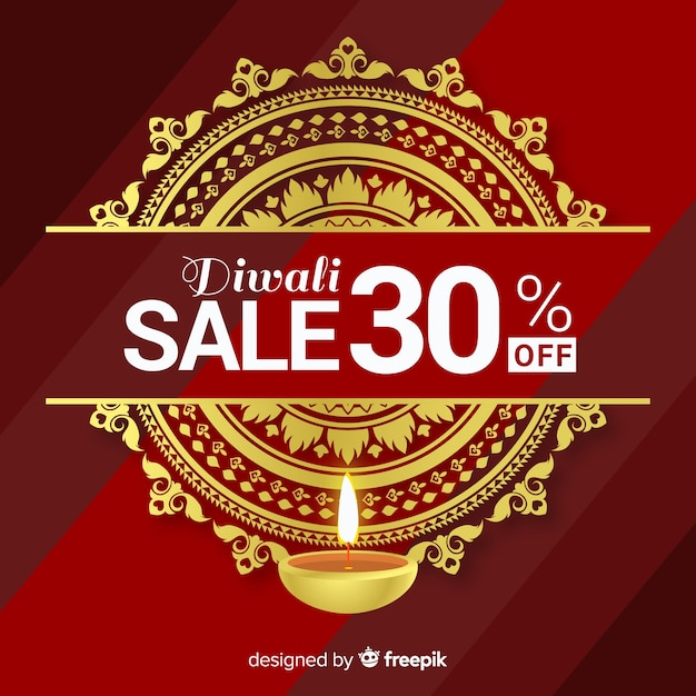 Colorful diwali sale composition with realistic design Free Vector