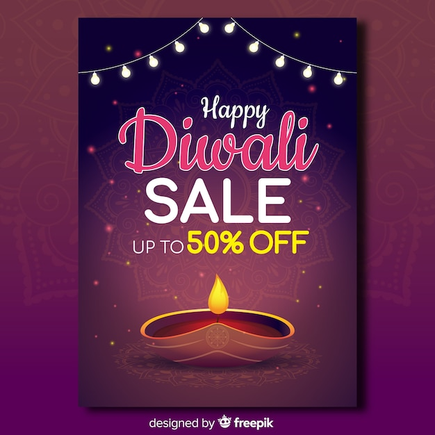 Colorful diwali sale flyer template with flat design Free Vector