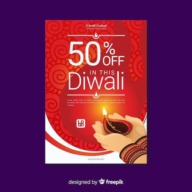 colorful diwali sale flyer template with flat design vector free