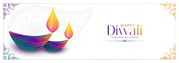 Colorful diya  for happy diwali festival banner Free Vector