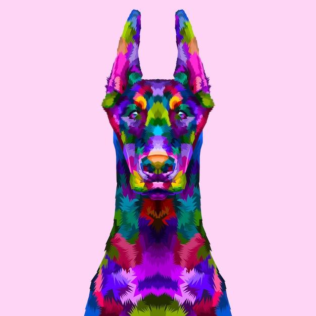 Colorful doberman portrait Premium Vector