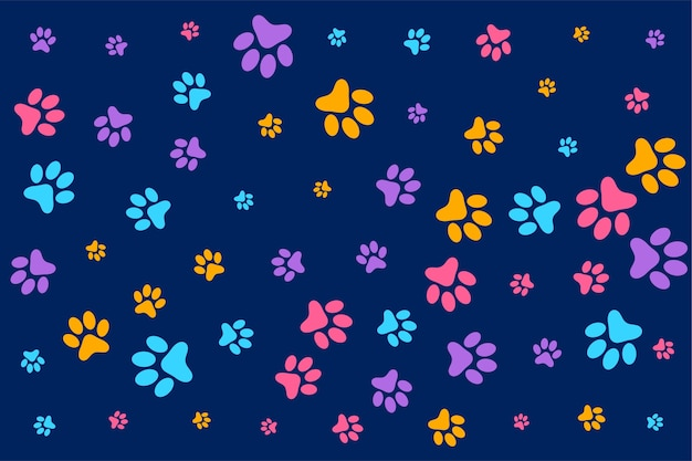 Colorful dog or cat paw prints pattern background Free Vector