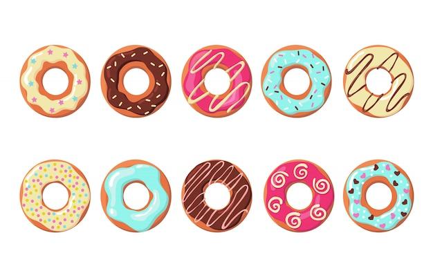 Набор красочных пончиков Бесплатные векторы