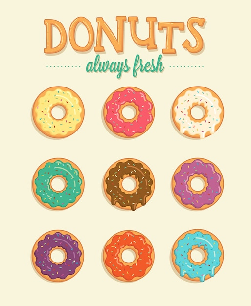 Colorful donuts Free Vector