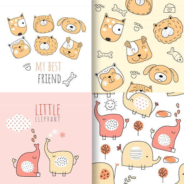 Colorful doodle animals seamless pattern Premium Vector
