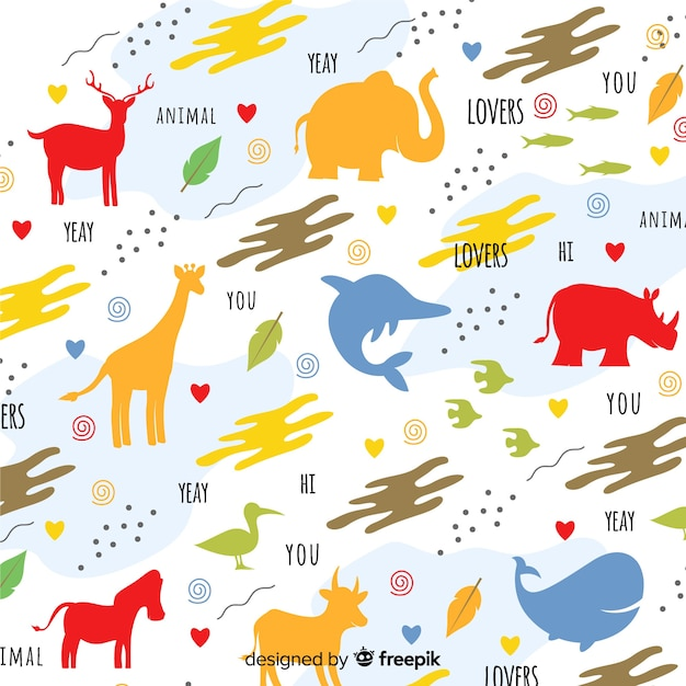 Colorful doodle animals silhouettes and words pattern Free Vector