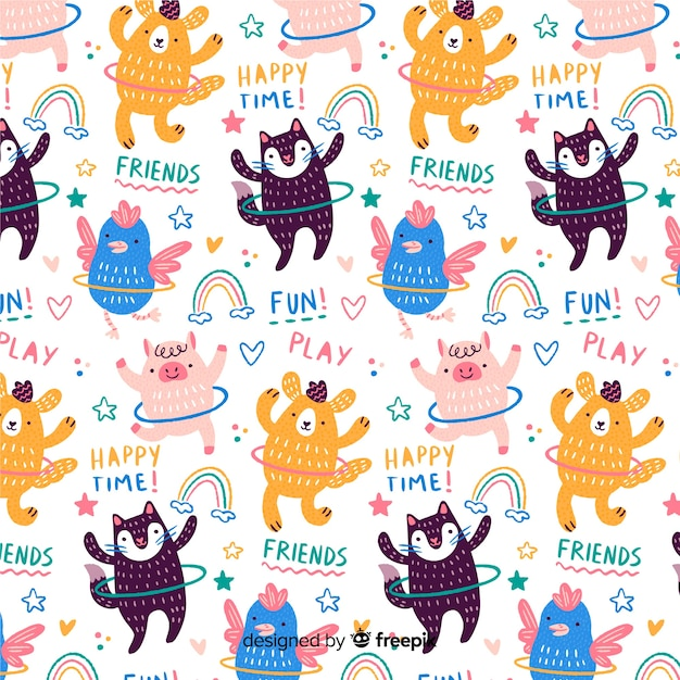 Colorful doodle animals with hula hoops and words pattern Free Vector