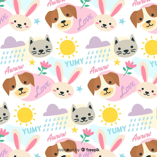 Colorful doodle animals and words pattern Free Vector