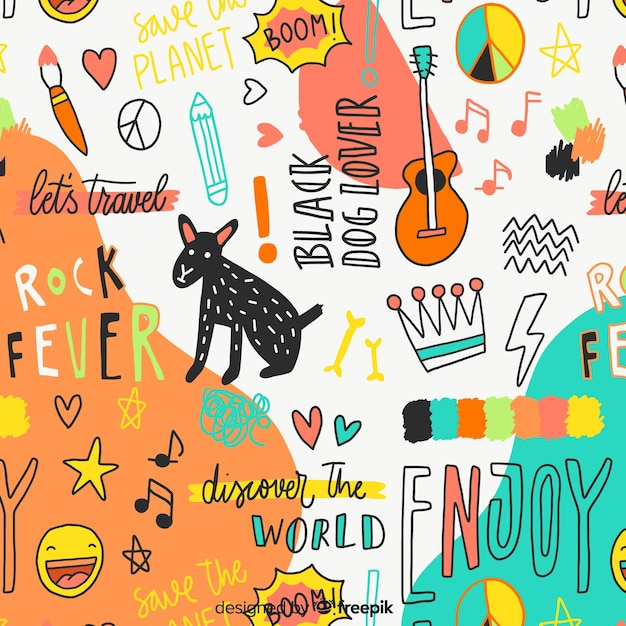 Colorful doodle animals and words pattern Premium Vector