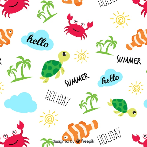 Colorful doodle beach animals and words pattern Free Vector