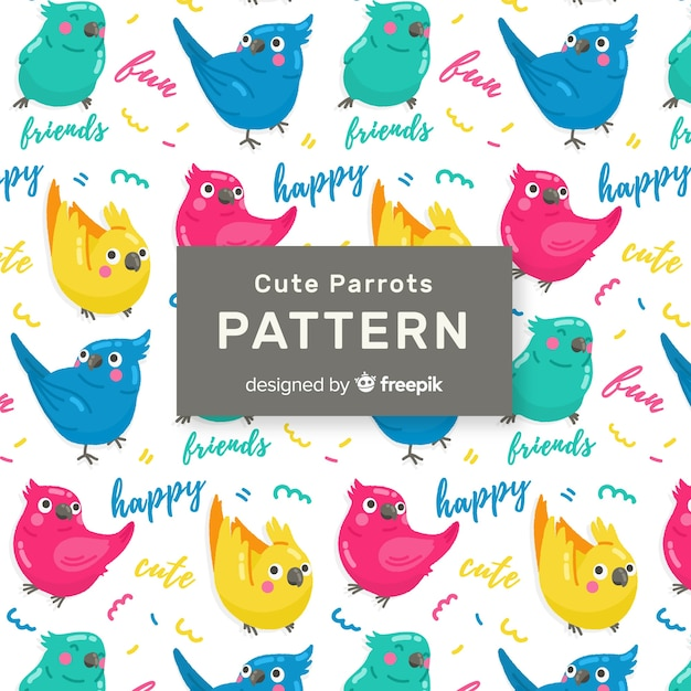 Colorful doodle birds and words pattern Free Vector